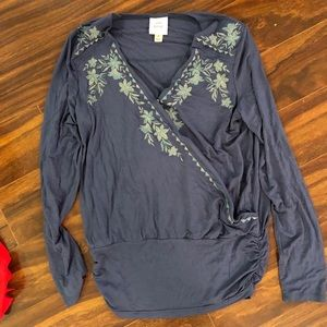 Blue top with green floral embroidery